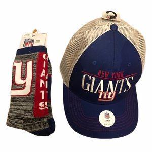 NFL NY Giants Mens Baseball Hat & Giants Socks Lg